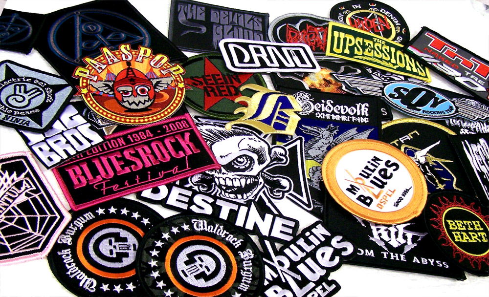 Patches embroidered woven and printed large back